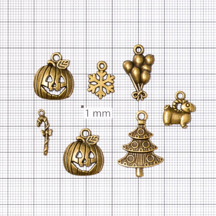 Шарики металлические подвески бронзовые новый год