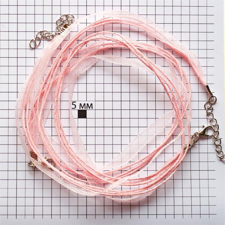 Основа для кулона Чотири бавовняні шнури і стрічка з органзи, рожева