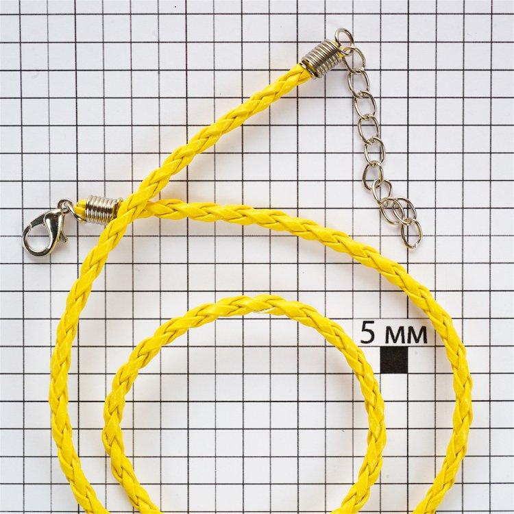 Основа для кулона жёлтая кожзам 3 мм