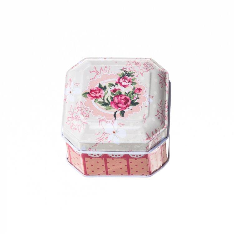 Коробочка жестяная, цветочный принт, 6,5х6,5х4,5 см