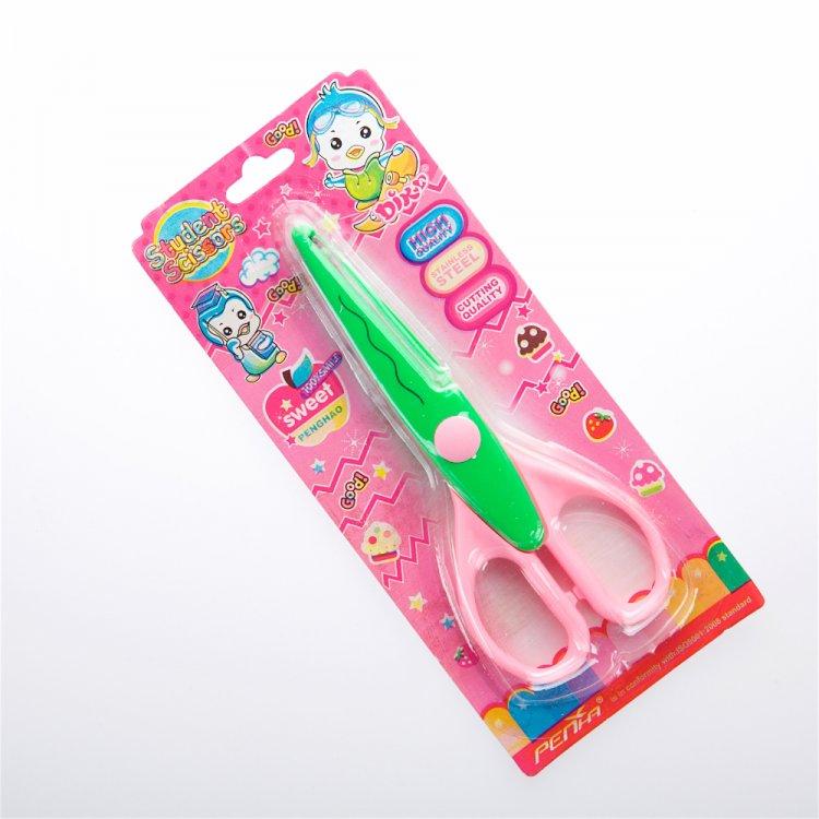Ножницы с фигурным лезвием, розово-зеленые, 16 см