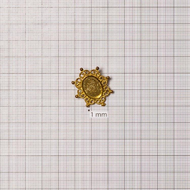 Основа для броши овальная клеевая, золото, 24х28 мм