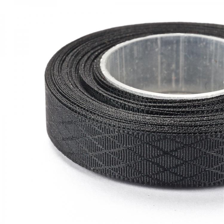 Лента атласная 10 мм ромбовидная черная