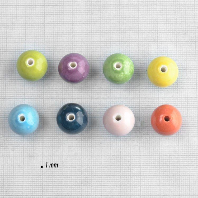 Глазурована кераміка. Намистина синя 16 мм