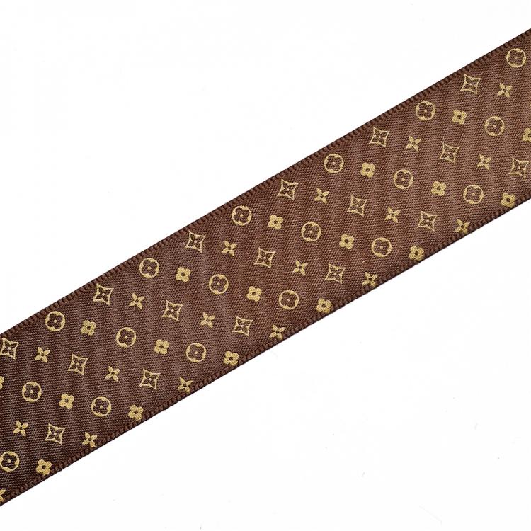 Лента атласная 25 мм под Louis Vuitton темно-коричневая