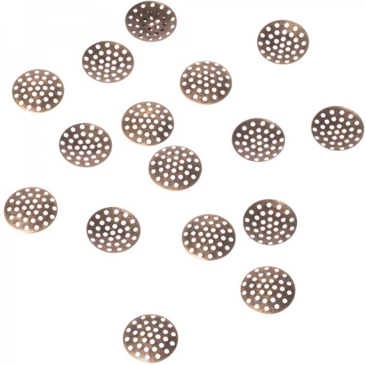 Круглая решётчатая основа для броши, бронза, 20 мм