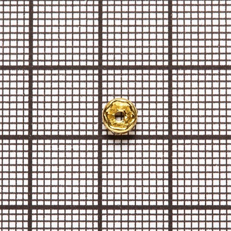 Разделительная бусина, рондела 5 мм золотая с белыми стразами