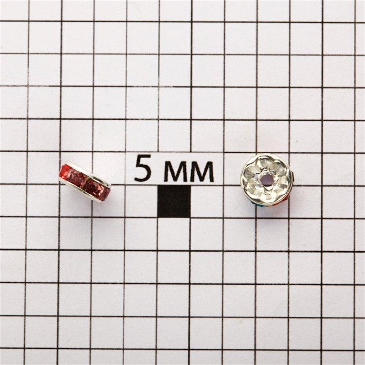 Розділова намистина 8 мм срібляста з кольоровими стразами