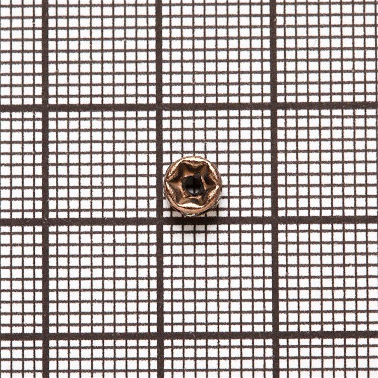 Розділова намистина 5 мм мідна з білими стразами