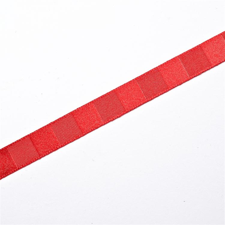 Стрічка атласна 10 мм смугаста червона