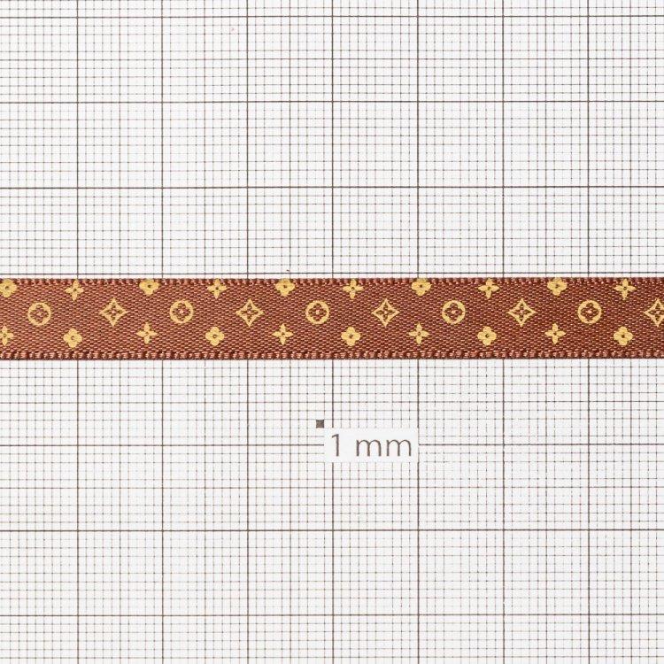 Лента атласная 10 мм под Louis Vuitton темно-коричневая