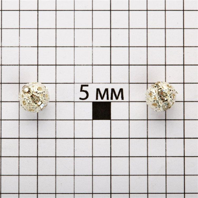 Намистина з білими стразами 8 мм
