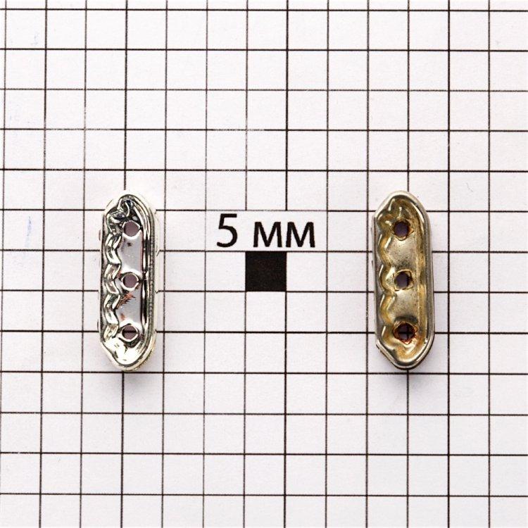 Планка, разделительный элемент 22 мм серебристая с белыми стразами