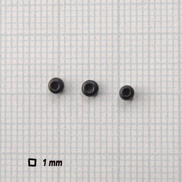 Бисер круглый, мелкий, черный матовый. Калибр 12 (1,8 мм)