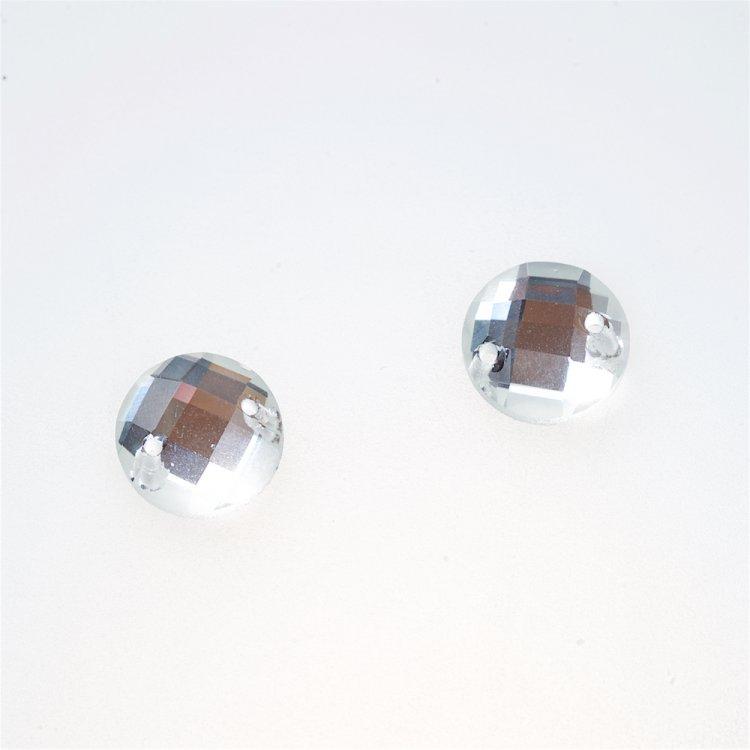 Стразы стеклянные пришивные. Прозрачный. Диаметр 12 мм