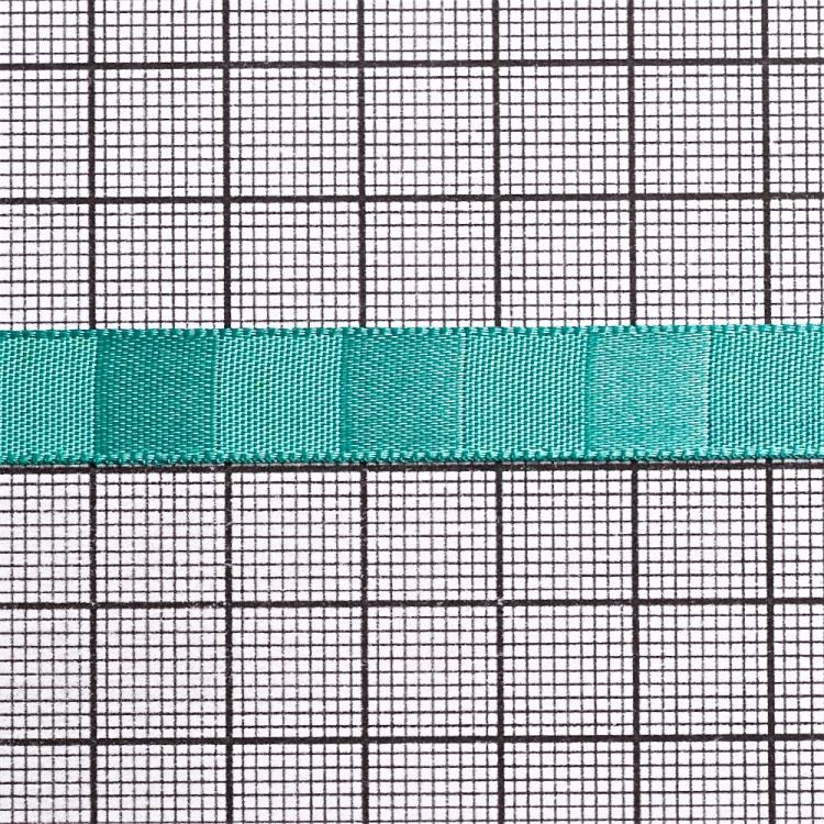 Стрічка атласна 10 мм смугаста м'ятно-бірюзова