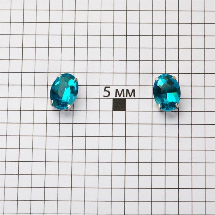 Стразы стеклянные в металлической оправе. Бирюзовый. Длина 14 мм, ширина 10 мм.