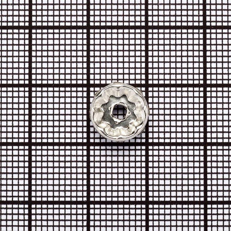 Разделительная бусина, рондела 10 мм серебристая с белыми стразами