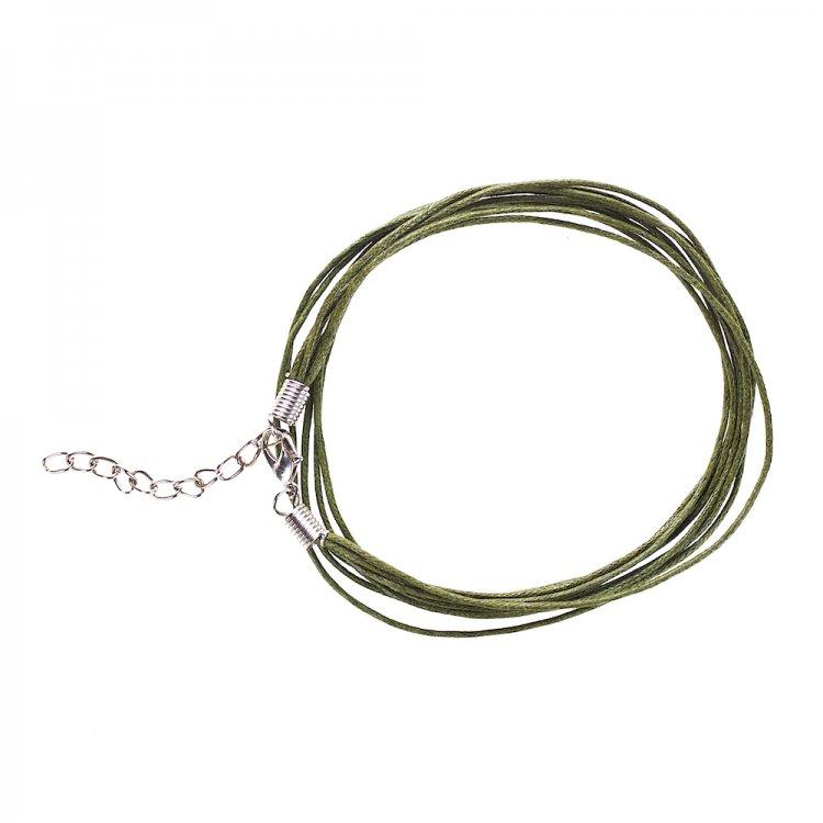 Основа для кулона 5 ниток болотяно-зелена бавовна