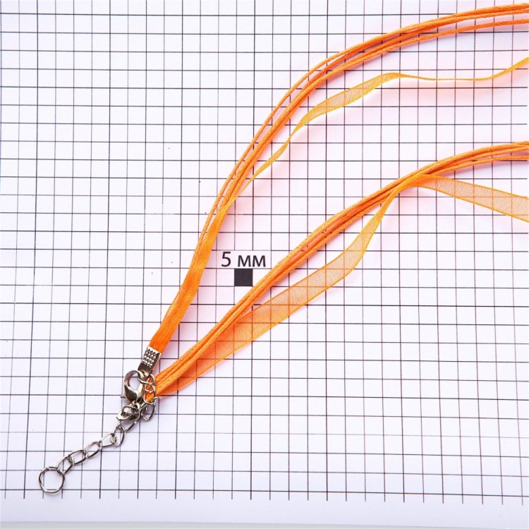 Основа для кулона Четыре хлопковых шнура и лента из органзы, оранжевая
