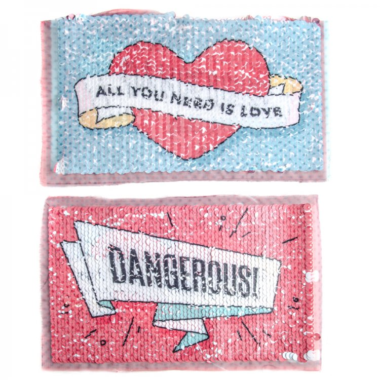 Тканевая нашивка с реверсивными пайетками All you need is LOVE