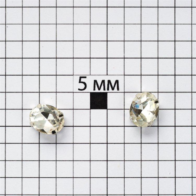 Стразы пришивные в металлической оправе. Прозрачный. Длина 10 мм, ширина 8 мм.