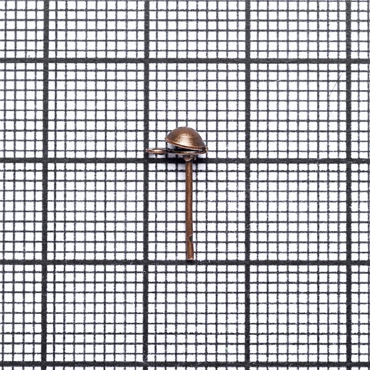 Основа для сережок гвоздик з капелюшком мідна