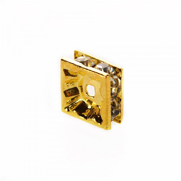 Розділова намистина 8 мм золота з білими стразами