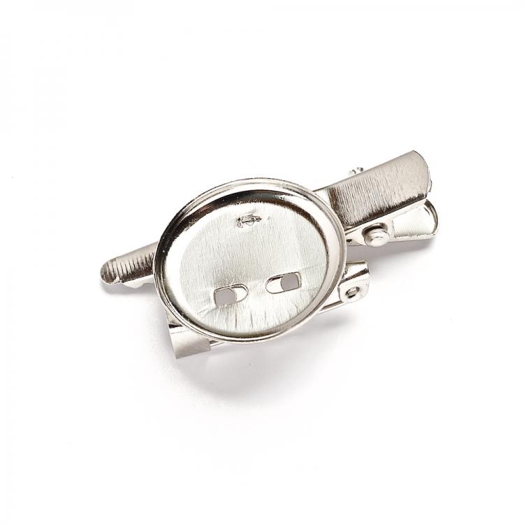 Основа для брошки з клейовою основою 19 мм і застібкою для шпильки, мельхіор