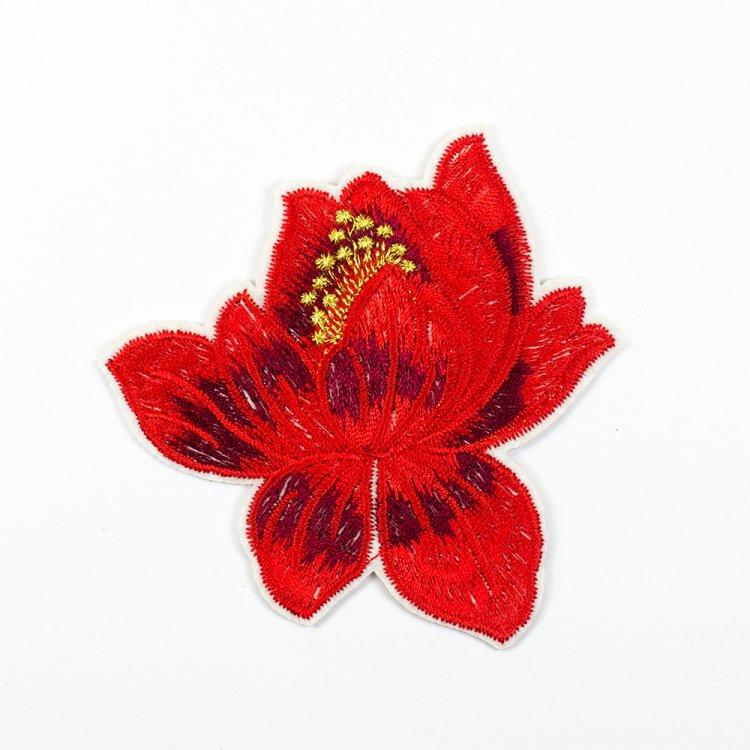 Тканевая нашивка Цветок Красный