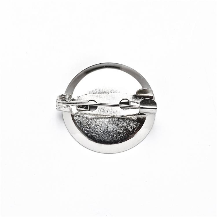 Основа для броши круглая клеевая, мельхиор, 20 мм