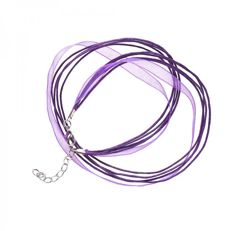 Основа для кулона Четыре хлопковых шнура и фиолетовая лента из органзы