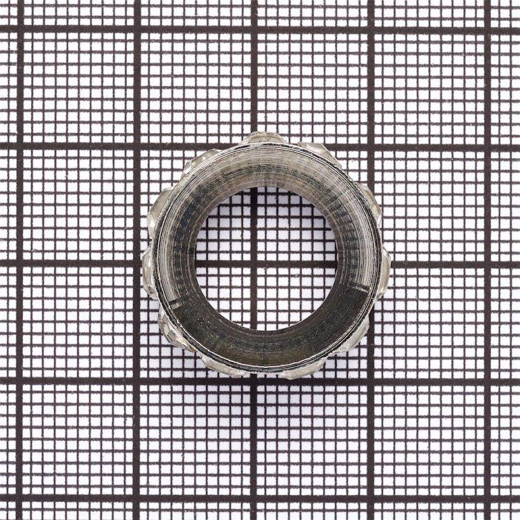 Pазделительная бусина, рондела 22 мм серебристая с белыми стразами
