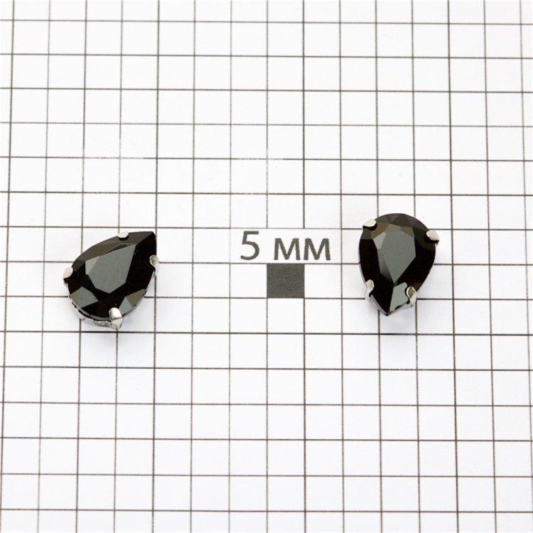 Стразы стеклянные в металлической оправе. Черный. 14х10 мм