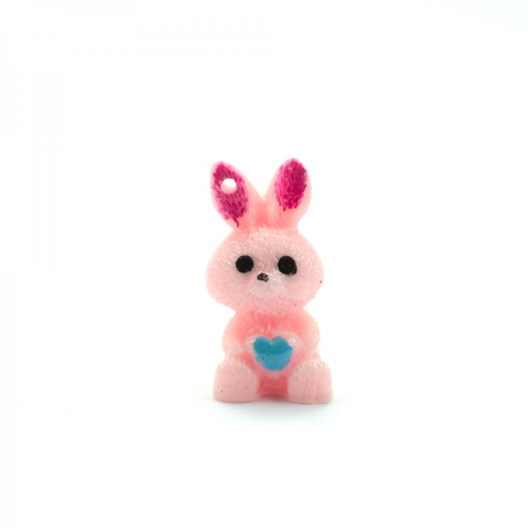 Декоративный элемент из полимерной глины, заяц розовый