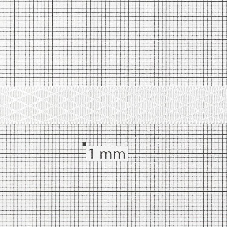Лента атласная 10 мм ромбовидная белая