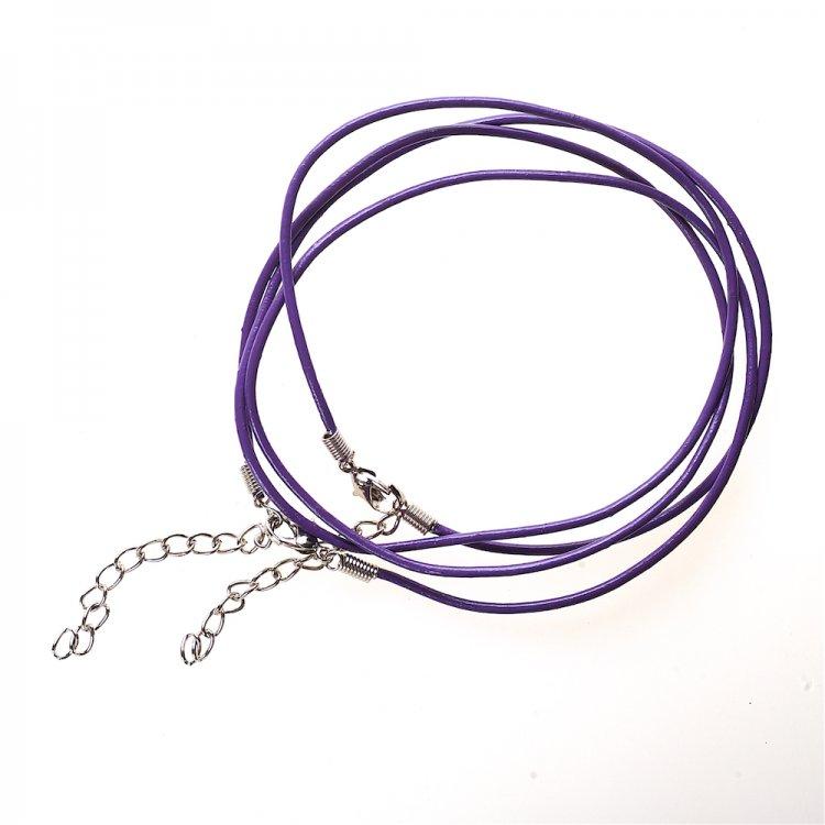 Основа для кулона тёмно-фиолетовая кожзам 1,5 мм