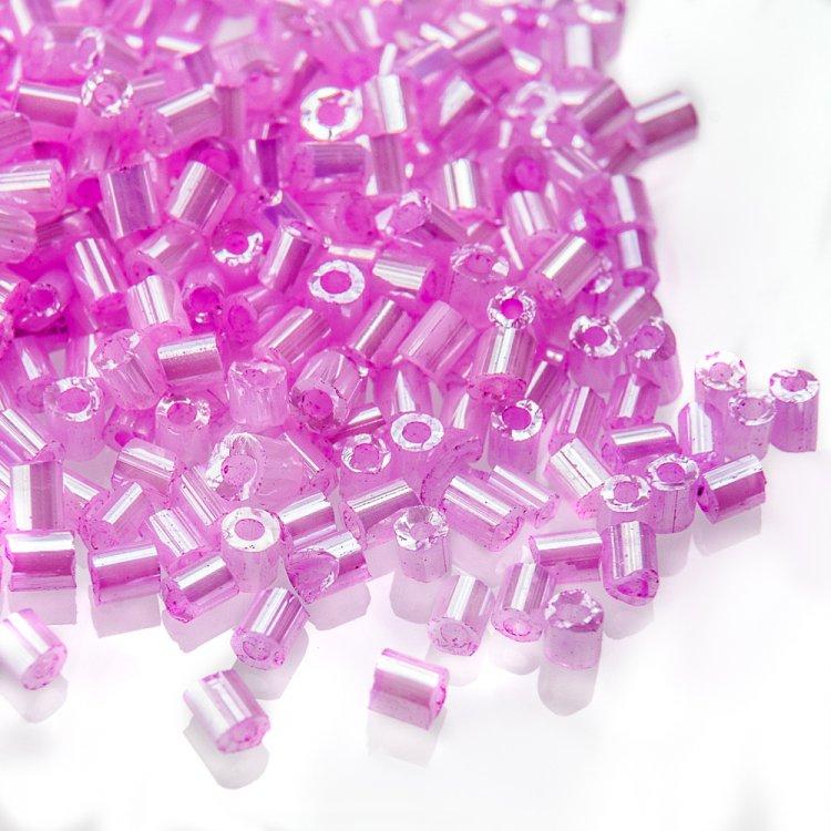 Бисер-рубка розовый 2,1 мм стекло