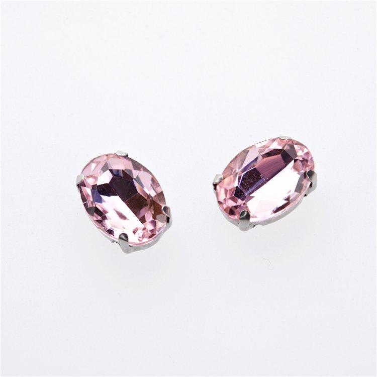 Стразы стеклянные в металлической оправе. Розовый. 14х10 мм