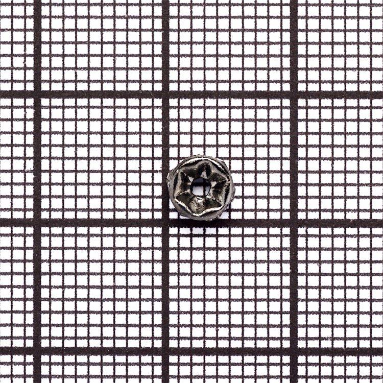 Разделительная бусина, рондела 5 мм темно-стальная с белыми стразами