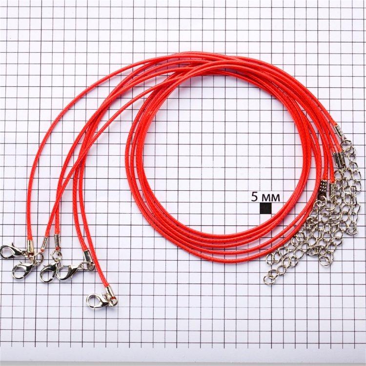 Плетёный шнур для кулона, хлопок, красный