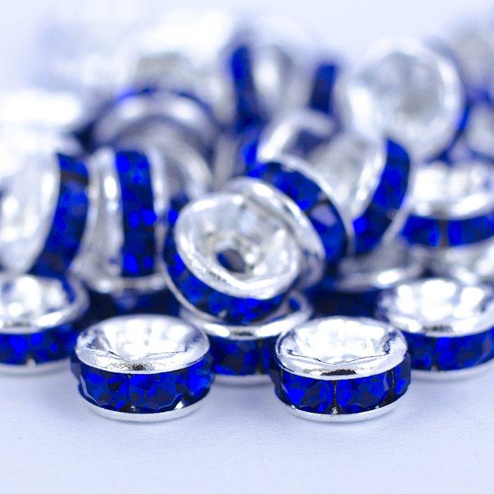 Pазделительная бусина рондела 5 мм серебристая с синими стразами