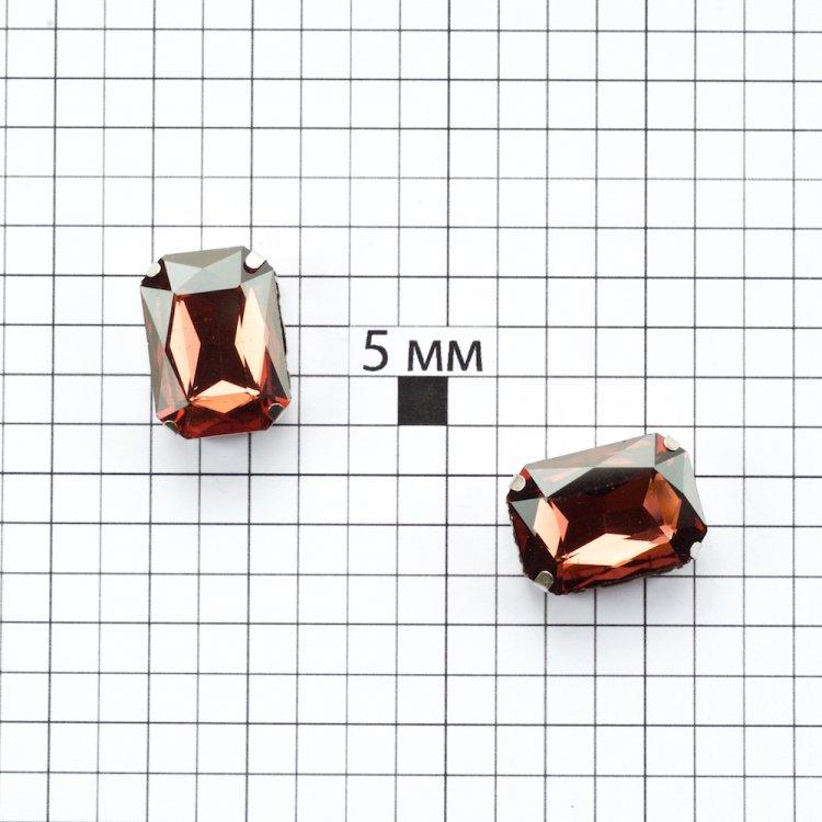 Стразы стеклянные в металлической оправе. Медно-коричневый. 18х13 мм