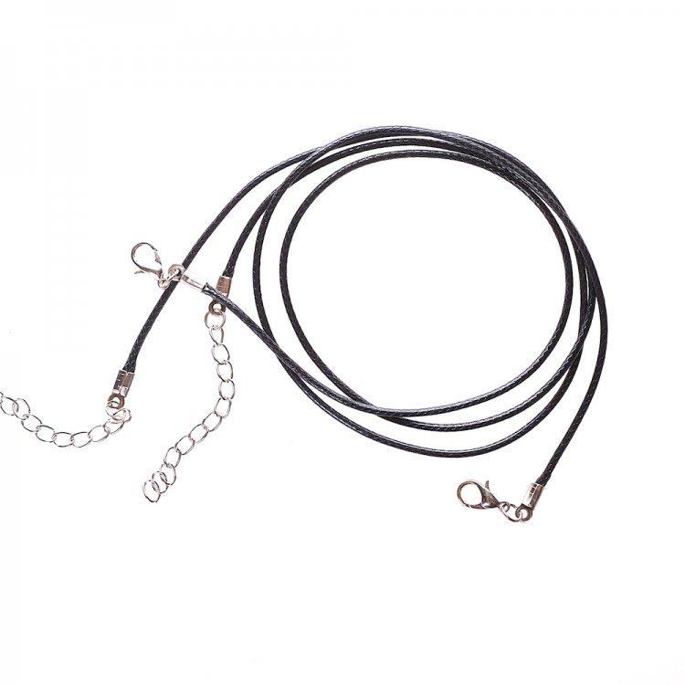 Плетений шнур для кулона, бавовна, чорна