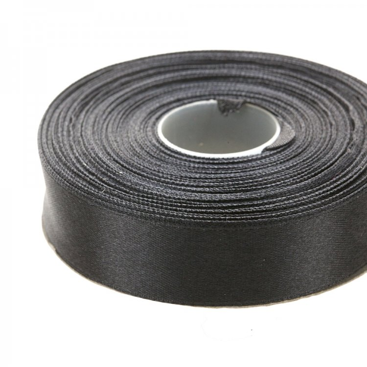 Лента атласная 20 мм черная