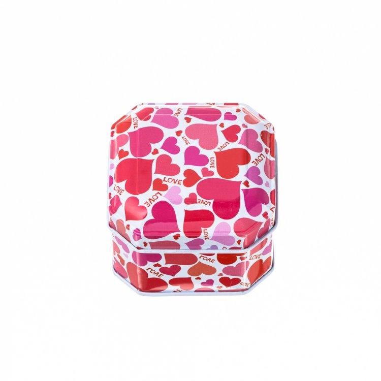 Коробочка жестяная  6,5х6,5х4,5 см сердечки
