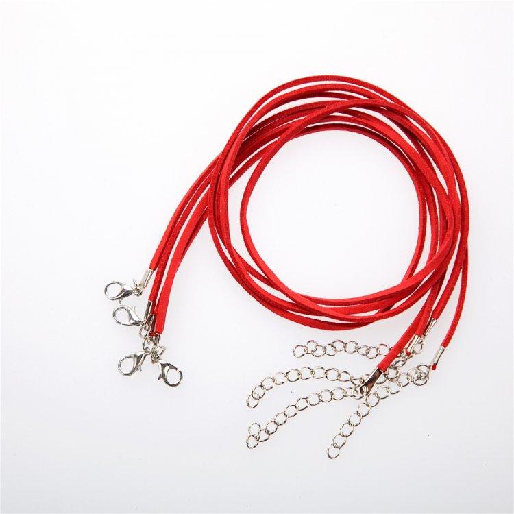 Шнур для кулона, замша, червона