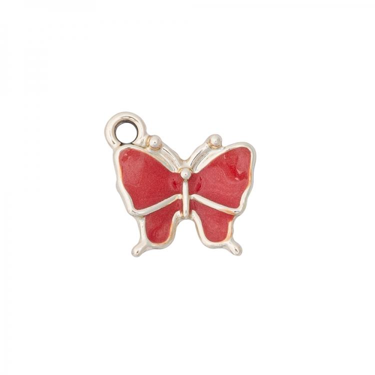 Металлическая подвеска с эмалью Бабочка красная