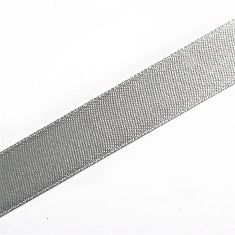 Лента атласная 14 мм серая