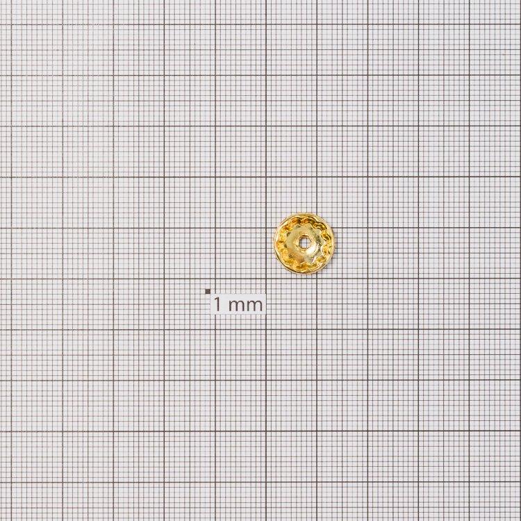 Разделительная бусина, рондела 12 мм золотая с белыми стразами